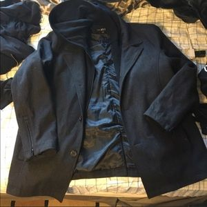 Other - NWT Men's pea coat jacket REMOVABLE HOODIE